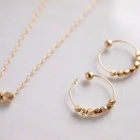 creema限定セット ネックレスとイヤリング metal beads [14kgfネックレス変更可]