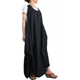 柔らかヘンプのノースリーブゆったりドレス (DNN-084-01)