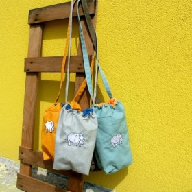 マスタードの黄色/水色とグレー/ブラウンスエード/ライトグレー - ericoco絵里U U刺繍サイは少し長いビームポートパッ