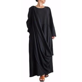 コットン袈裟懸けドレス 黒(DNN-077-01)