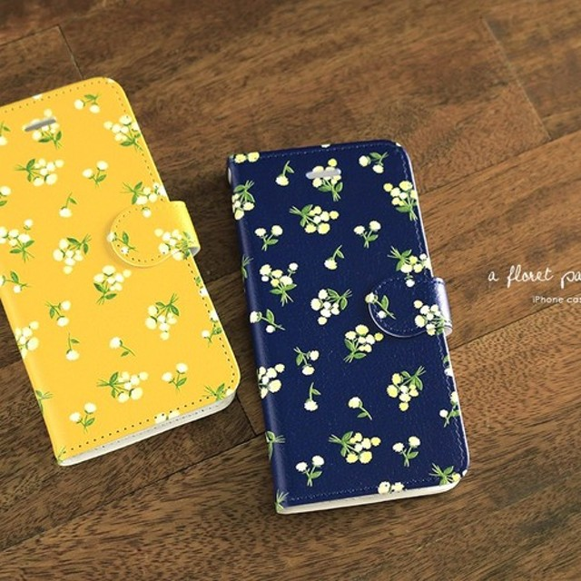 iPhone 手帳型スマホケース 【小花柄】