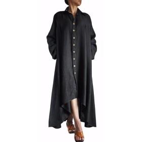 柔らかヘンプのロングドレスコート 黒(JNN-067-01)