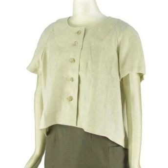 ポーリッシュリネン ショート丈ブラウス ラグラン袖 半袖 生成 無地 フリーサイズ