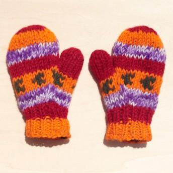 東ヨーロッパの日差しオレンジストライプ - 子供/子供の手袋/のためのニットピュアウール限ら暖かい手袋/手袋は手袋/ニット手袋/