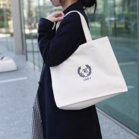 名入れ キャンバストートバッグ スクエアタイプ ロゴ葉 オリジナルロゴ刺繍