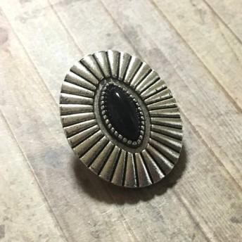 オーバル ブラックストーン ボタン シルバー 1個