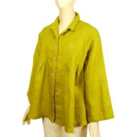 リネン 丸ヨーク切り替え シャツカラーブラウス 長袖 萌黄色 フリーサイズ