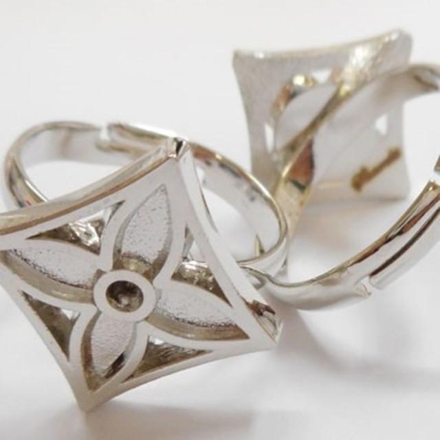 SHAREKI ハンドメイド素材 指輪パーツ シルバー Wタイプ W-ri-s