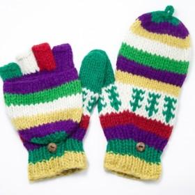 ニットウールgolve手織りの純粋なウールの手袋/取り外し可能な手袋/(ネパール製)暖かい手袋 - 新鮮な森林国家のトーテム