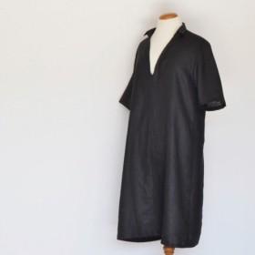 リネン台衿半袖ワンピース<ブラック>