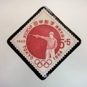 日本 東京オリンピック切手ブローチ 3045