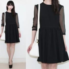 シースルースリーブブラックドレス