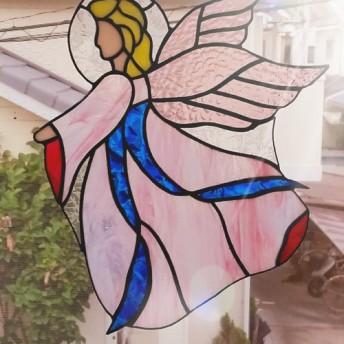 幸運を呼ぶ!天使のモチーフ ステンドグラス製 サンキャッチャーパネル エンジェル