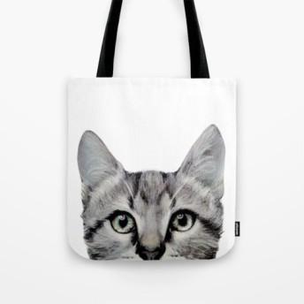 猫、アメリカンショートヘアー、Miart オリジナルイラストぷりんとトートバッグ