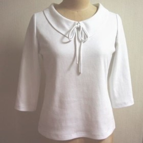 (再販3)ショールカラーのリボン大好きTシャツ(白地)
