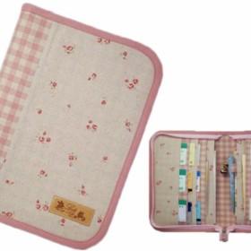 母子手帳ケース L ラウンドファスナータイプ 小花柄 ピンク (A5サイズの母子手帳に対応) ☆2人分収納可能☆