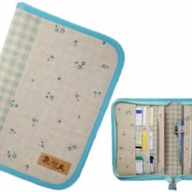 母子手帳ケース L ラウンドファスナータイプ 小花柄 ブルー (A5サイズの母子手帳に対応) ☆2人分収納可能☆
