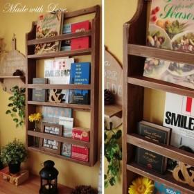 [3段]ディスプレイ本棚/アンティーク風 木製ブックシェルフ