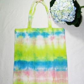 羅コウ馬Kollomaの手染めのショッピングバッグ - ピンク、緑、青(ワイド端)