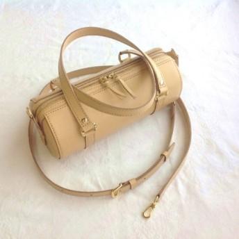 [受注制作]直径12cmヌメ革円筒バッグ(ショルダーベルト付き、ベージュ&各種色)