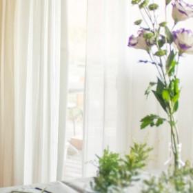 透明感のある麻のシィアーカーテン 薄手レースカーテン/白色 日本で織った麻のカーテン