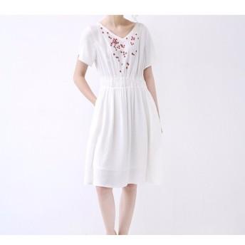 【L】刺繍小花でシンプルな半袖ワンピース♪