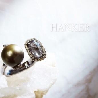ファインジュエリー純粋な18KゴールドHANKER-守護天使(黒海黒海)18Kホワイトゴールド。ナチュラルダイヤモンド原石