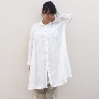 「白とボーダー shower」 シャツ(麻・リネン)