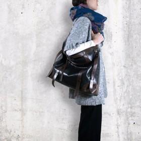 UN1 Leather Keep All Large Travel Bag- Midnight Black
