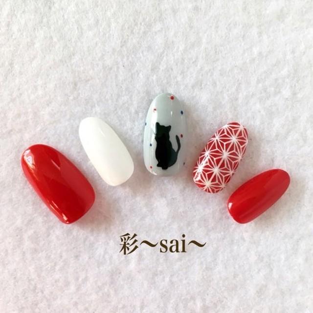 ☆和柄☆麻の葉に黒猫ネイル/赤/お正月・成人式・浴衣・和装
