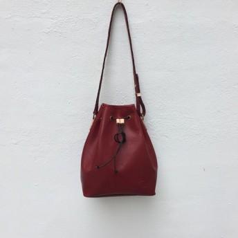 DUAL - レザーバケットバッグ - 赤レンガ