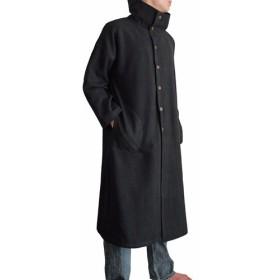 ジョムトン手織り綿オフハイネックコート 黒 (JFS-095-01)