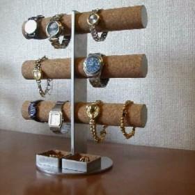 クリスマスに!ステンレス製12本掛けインテリア腕時計収納スタンド 角トレイ
