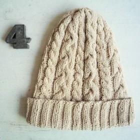 コットン帽子・なわ編み×2[オフホワイト]