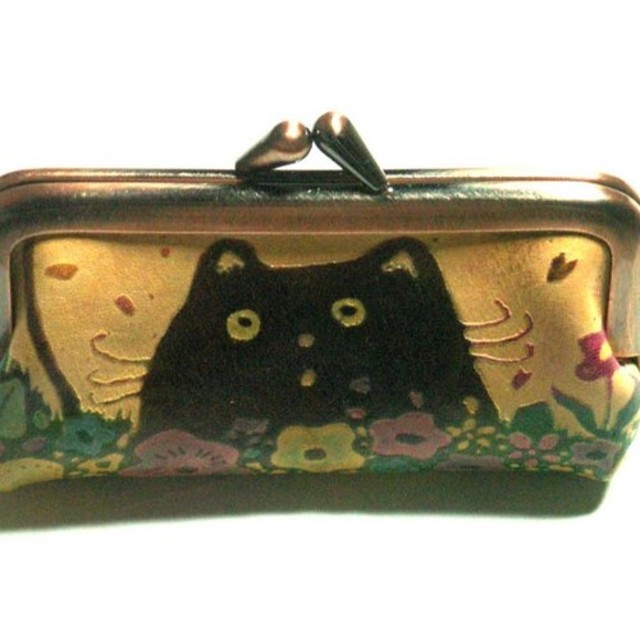 猫のデザイン レザークラフト 口金ハンコケース バッグ 財布 catwalk oikawa