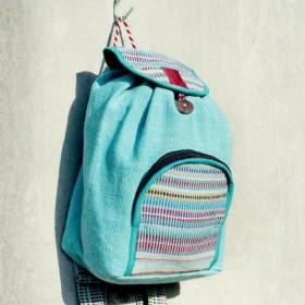 ナチュラル手織りカラフルな虹のキャンバスバッグ/バックパック/バックパック/ショルダーバッグ/バッグ - ナチュラル色ミントグリ