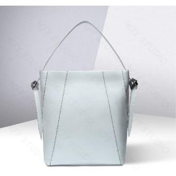 oversize paneled leather shoulder bag