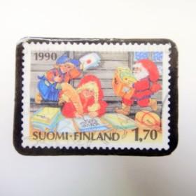 フィンランド クリスマス切手ブローチ1802
