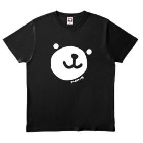 【お揃い】ポケットくま もっとビッグフェイスTシャツ ブラック