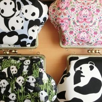 4種・パンダ柄角がま口横長バッグ(25.5口金)肩掛けハンドバッグ