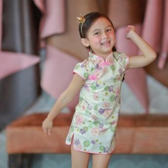6歳のチェリー・ホワイト小さなチャイナドレス(130センチメートル) 7歳(140センチメートル)