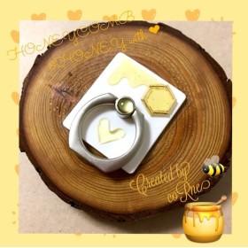 再販×10*MY HONEY  とろ り 濃厚ハチミツ ハニカム + ぷっくりハート スマホリング/スマホスタンド