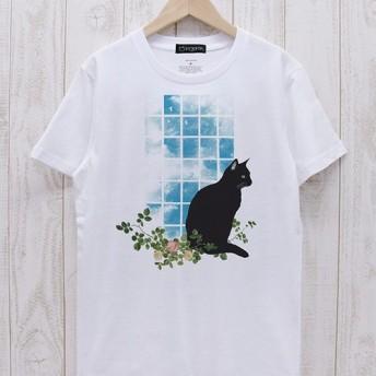 佇む黒猫 窓辺NOON(ホワイト) / R029-T-WH