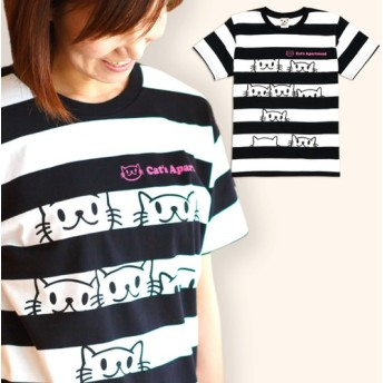 SCOPYネコTシャツ「Cat's Apartment」ブラック×ホワイト