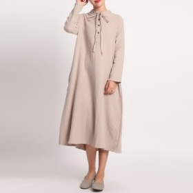 綿麻刺繍生地 痩せて見える優雅な厚手長袖ワンピース