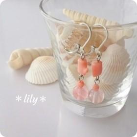 ピンク珊瑚とストロベリークオーツのピアス