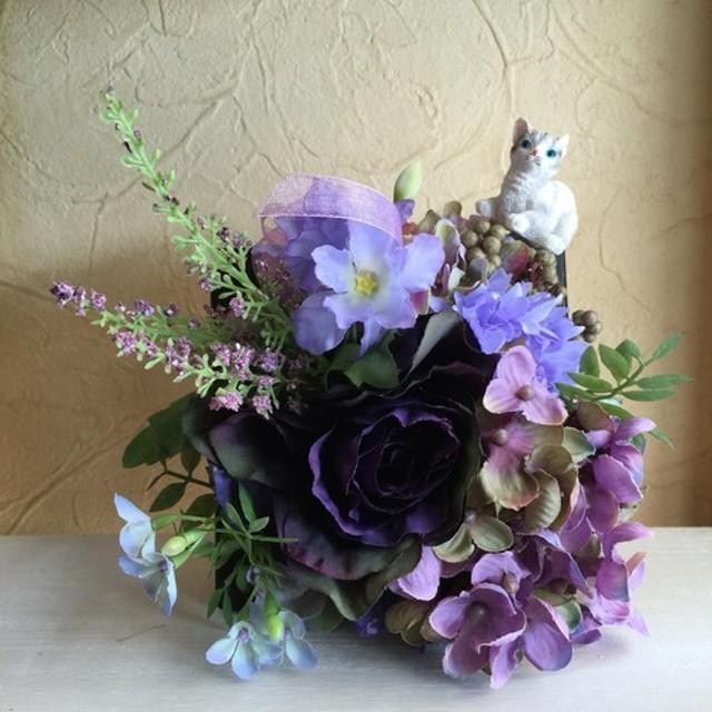 アーティフィシャルフラワー紫アレンジNO. c160801