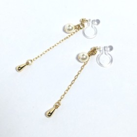 crystal pearl earring【swing drop】