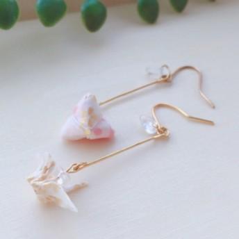 桜柄折りと三角のロングイヤリング/ピアス