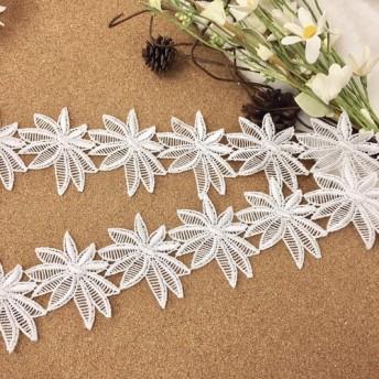 広幅 綺麗 お花 ケミカルレース ブレード モチーフ 白 BK171034 ハンドメイド 手芸 素材 材料